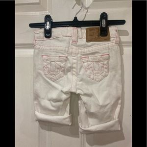 True Religion girl cut off short white -pink size4
